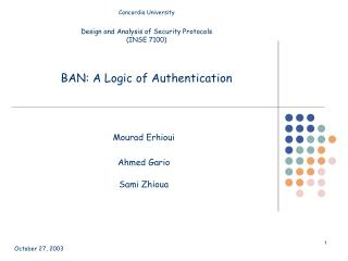 BAN: A Logic of Authentication