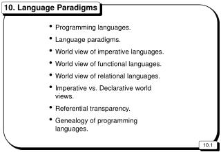 10. Language Paradigms