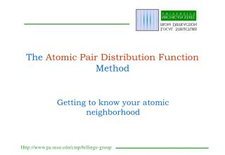 The  Atomic Pair Distribution Function  Method
