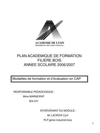 PLAN ACADEMIQUE DE FORMATION FILIERE BOIS ANNEE SCOLAIRE 2006/2007
