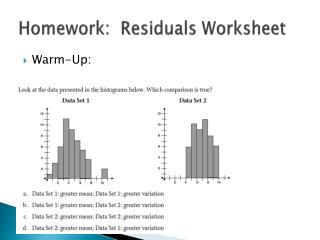 Homework:  Residuals Worksheet