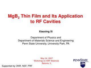 MgB 2  Thin Film and Its Application to RF Cavities
