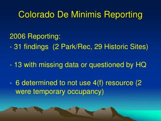 Colorado De Minimis Reporting
