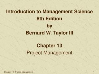 Chapter 13 Project Management