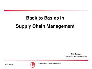 Back to Basics in  Supply Chain Management