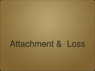 Attachment &  Loss