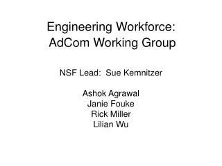Engineering Workforce:  AdCom Working Group