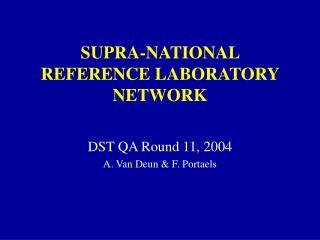 SUPRA-NATIONAL REFERENCE LABORATORY NETWORK