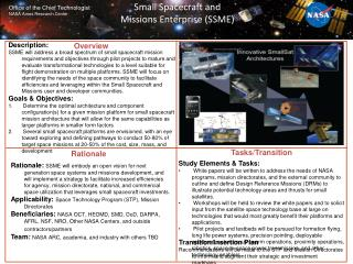 Small Spacecraft and Missions Enterprise (SSME)
