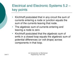 Electrical and Electronic Systems 5.2 – key points
