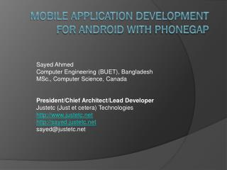 Mobile Application  Development for android with  phonegap