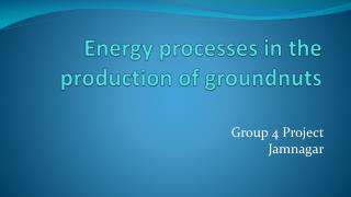 Energy processes in the production of groundnuts