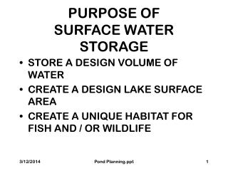 PURPOSE OF SURFACE WATER STORAGE