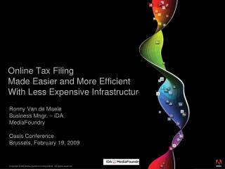 Online Tax Filing  Made Easier and More Efficient With Less Expensive Infrastructure