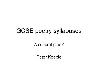 GCSE poetry syllabuses
