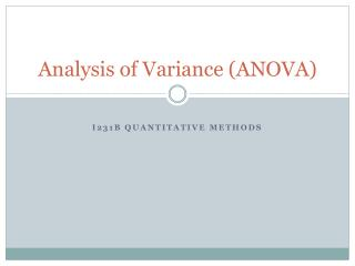 Analysis of Variance (ANOVA)