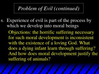Problem of Evil continued