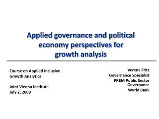 Applied governance and political economy perspectives for  growth analysis