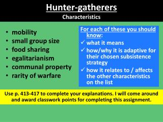 Hunter-gatherers Characteristics