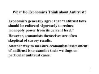 What Do Economists Think about Antitrust?