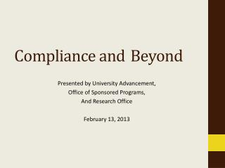 Compliance and