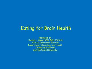 Eating for Brain Health