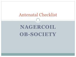 Antenatal Checklist