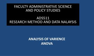 ANALYSIS OF VARIENCE ANOVA