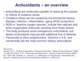 Antioxidants – an overview
