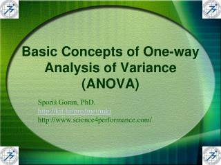 Basic Concepts of One-way Analysis of Variance (ANOVA)