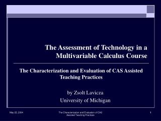 The Assessment of Technology in a Multivariable Calculus Course