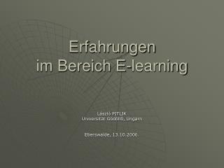 Erfahrungen  im Bereich E-learning