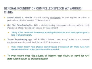 General Roundup on compelled speech w/ various media