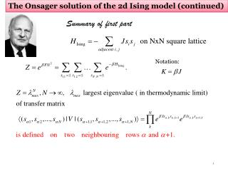 The Onsager solution of the 2d Ising model (continued)