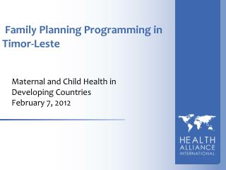 Family Planning Programming in Timor-Leste