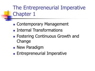 The Entrepreneurial Imperative Chapter 1