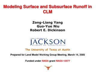 Zong-Liang Yang  Guo-Yue Niu Robert E. Dickinson The University of Texas at Austin