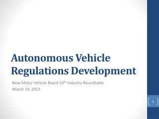 Autonomous  Vehicle  Regulations  Development