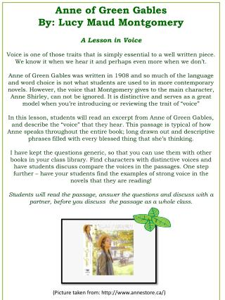 Anne of Green Gables By: Lucy Maud Montgomery A Lesson in Voice