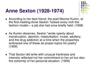 Anne Sexton (1928-1974)