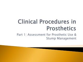 Clinical Procedures in Prosthetics
