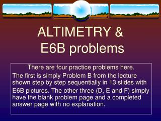 ALTIMETRY   E6B problems