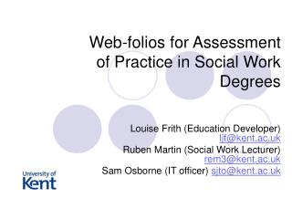 Web-folios for Assessment of Practice in Social Work Degrees