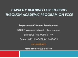 Capacity Building for Students through Academic Program on ECCE
