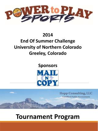 2014  End Of Summer Challenge University of Northern Colorado Greeley, Colorado Sponsors