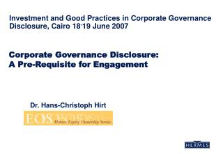 Corporate Governance Disclosure:  A Pre-Requisite for Engagement
