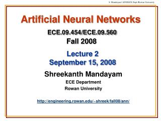 Artificial Neural Networks  ECE.09.454