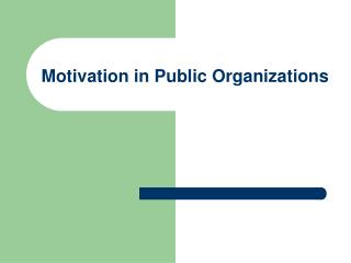 Motivation  in Public Organizations