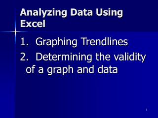 Analyzing Data Using Excel