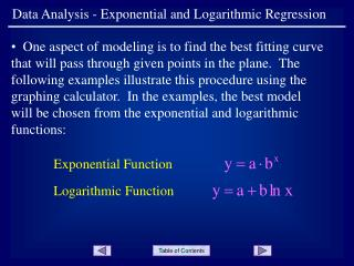 Data Analysis - Exponential and Logarithmic Regression
